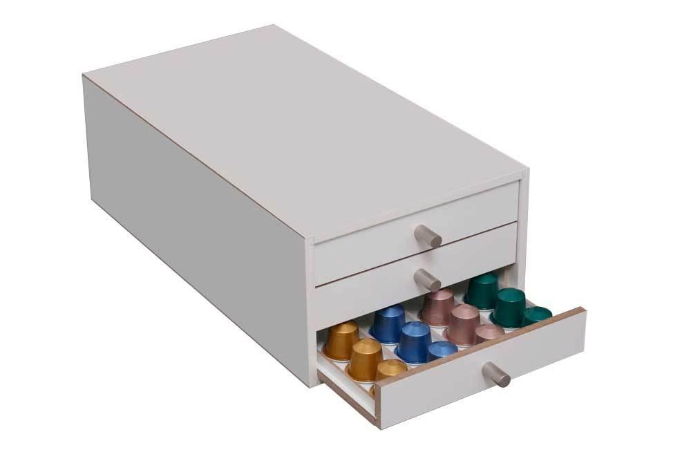 kapselspender f r 120 nespresso kapseln in wei. Black Bedroom Furniture Sets. Home Design Ideas